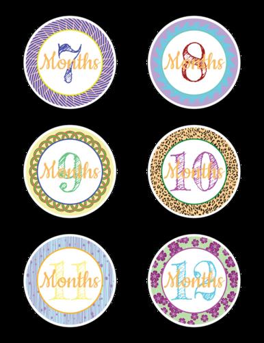 """Baby Age Milestone """"Months 7-12"""" Sticker"""