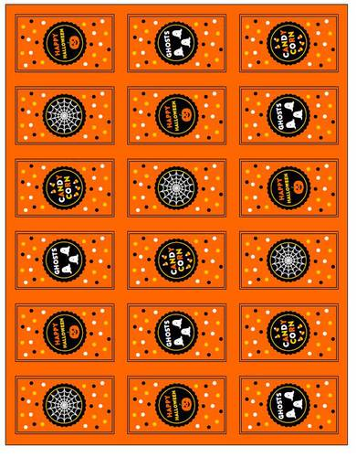 Assorted Halloween Mini Chocolate Candy Bar Labels Printable