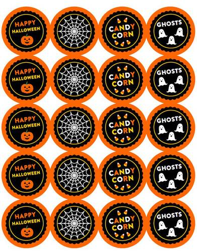 Assorted Halloween Round Sticker Party Favor Printable