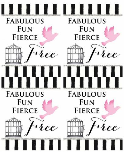 """Fabulous Fun Fierce & Free"" Divorce Party Wine Label"