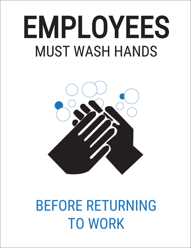 """Employees Must Wash Hands"" Bathroom Label Sign"