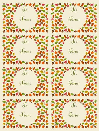 Autumn Leaf Themed To & From Gift Tag Label