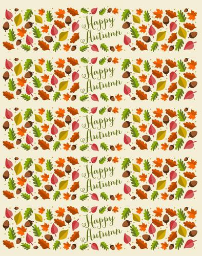 """Happy Autumn"" Fall Leaves Water Bottle Label"