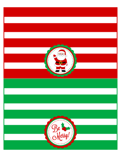 Striped Christmas Treat Bag Topper