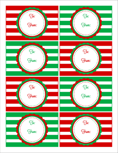 Red Green Striped Christmas Gift Tag Labels Label