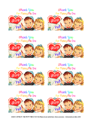 Assorted Teacher Valentine's Day Gift White Labels Printable