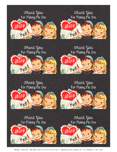 Assorted Teacher Valentine's Day Gift Black Labels Printable