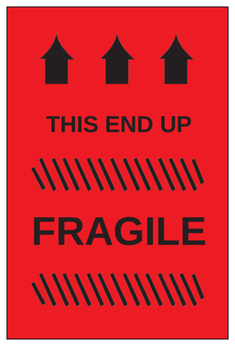 """Fragile - This End Up"" Shipping Label"
