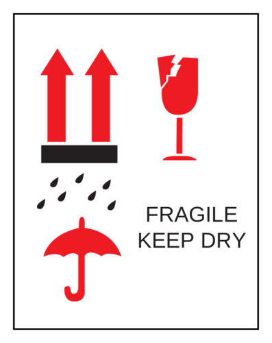 """Fragile Keep Dry"" Label"