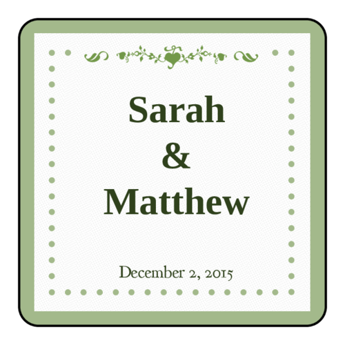 Colonial-Style Pistachio Wedding Label