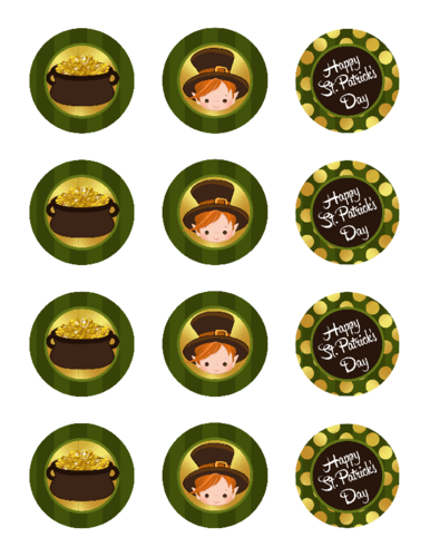 Assorted St. Patrick's Day Cupcake Topper Printable Stickers