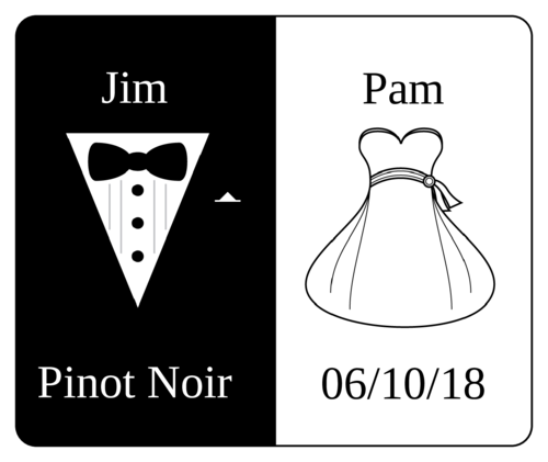 Wedding Dress & Tuxedo Bride & Groom Wine Bottle Label