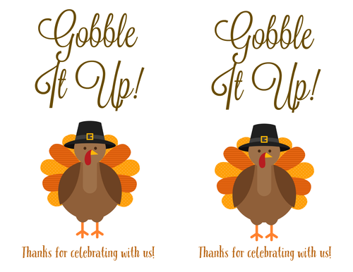 """Gobble It Up"" Thanksgiving Turkey Printable Label"