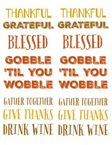 Thanksgiving Sayings Labels Printable