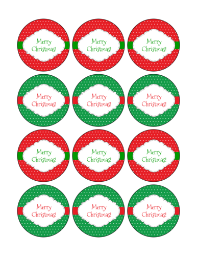 Red and Green Merry Christmas Labels Printable