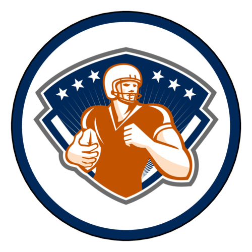 Football Player Team Orange Label