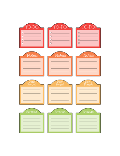 Planner Checklist Note Labels Printable