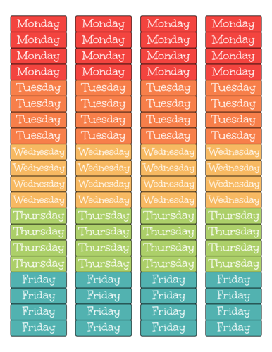 Weekly Planner Label