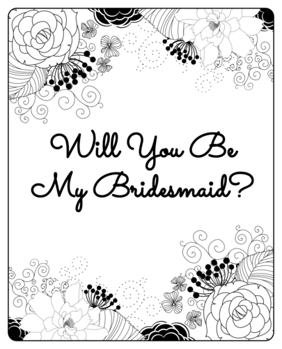 "Black & White Floral ""Will You Be My Bridesmaid?"" Wine Bottle Label"