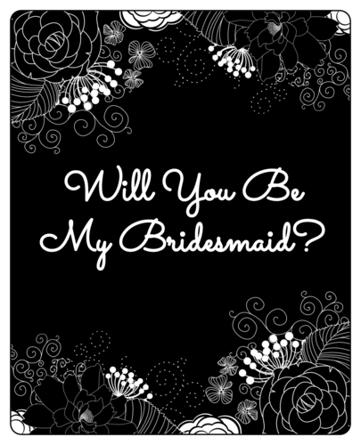 "Inverted Black & White Floral ""Will You Be My Bridesmaid?"" Wine Bottle Label"