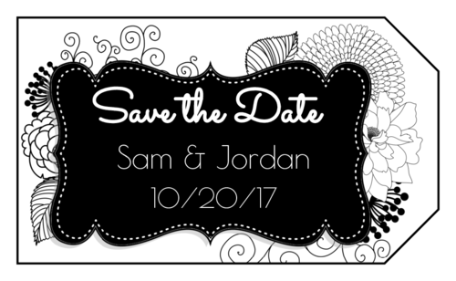 "Black & White Floral ""Save the Date"" Wedding Tag"