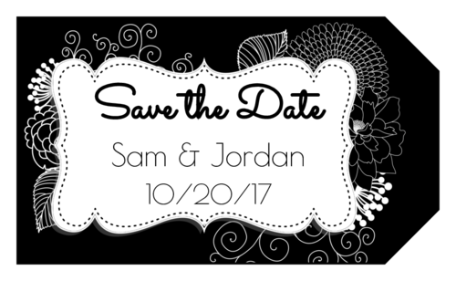 "Inverted Black & White Floral ""Save the Date"" Wedding Tag"