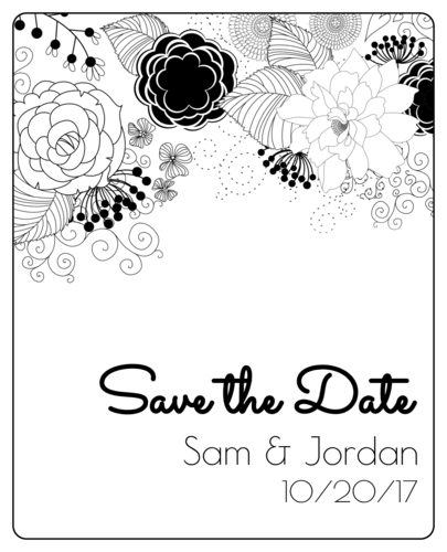 "Black & White Floral ""Save the Date"" Wine Bottle Label"