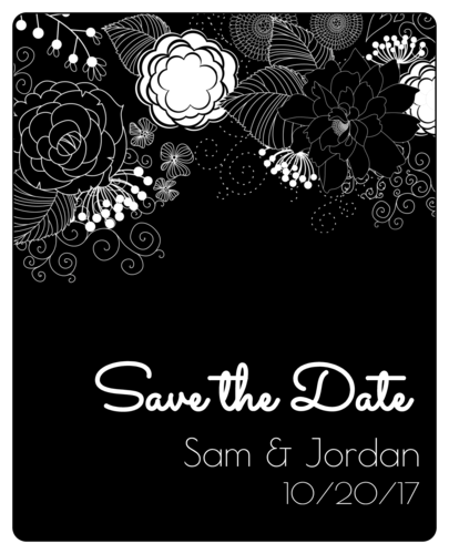 "Inverted Black & White Floral ""Save the Date"" Wine Bottle Label"