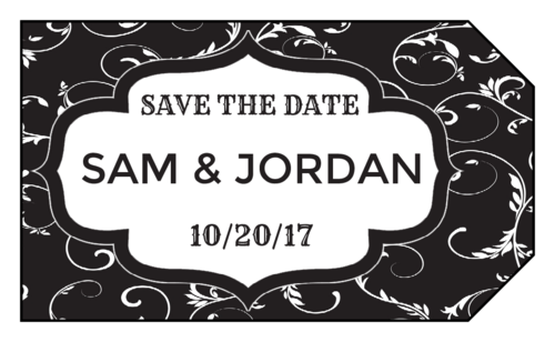 "Fancy ""Save the Date"" Wedding Tag"