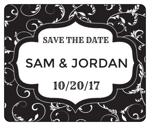 "Fancy ""Save The Date"" Wedding Wine Bottle Label"
