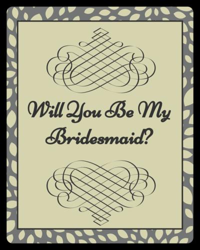 Olive Leaf Bridesmaid Proposal Wine Bottle Label