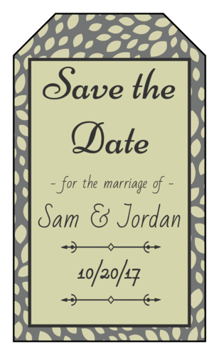 "Olive Leaf ""Save the Date"" Wedding Gift Tag"