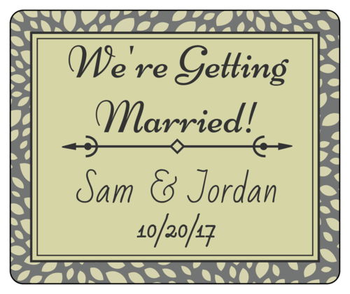 "Olive Leaves ""We're Getting Married"" Wedding Announcement Wine Bottle Label"