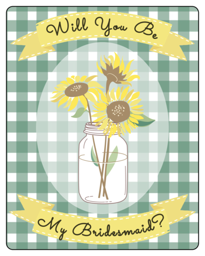 Sunflower Picnic-Style Bridesmaid Proposal Wine Bottle Label