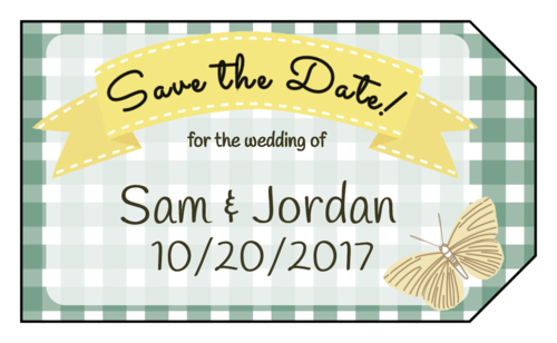"Picnic-Themed ""Save the Date"" Wedding Tag"