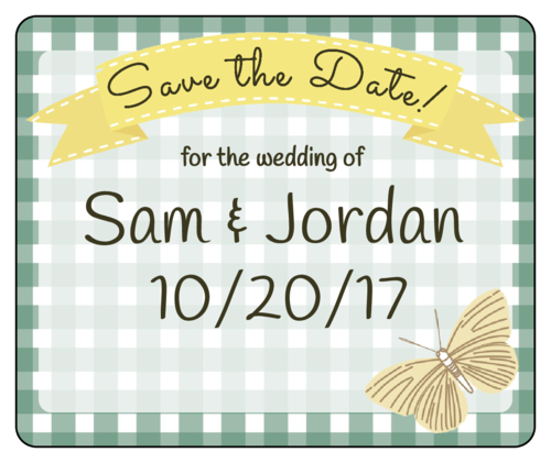 "Picnic ""Save the Date"" Wedding Wine Bottle Label"