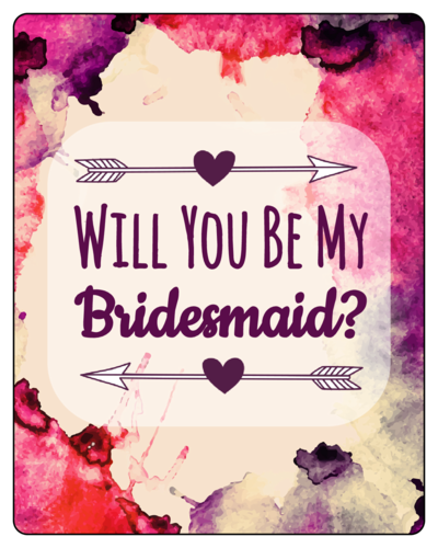 Watercolor Bridesmaid Proposal Wine Bottle Label