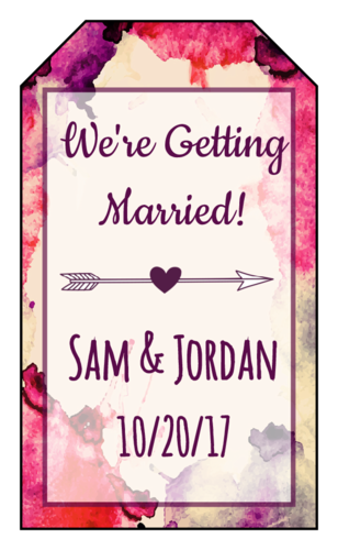 "Watercolor ""Save the Date"" Wedding Tag"