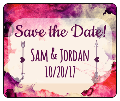 "Watercolor ""Save the Date"" Wedding Wine Bottle Label"