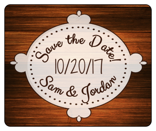 "Woodgrain ""Save the Date"" Wedding Wine Bottle Label"