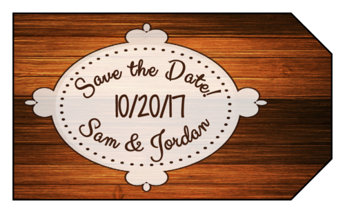 "Woodgrain ""Save the Date"" Wedding Tag"
