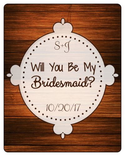 Woodgrain Bridesmaid Proposal Wine Bottle Label