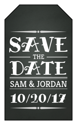 "Chalkboard ""Save the Date"" Wedding Tag"
