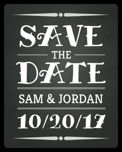 """Chalkboard """"Save The Date"""" Wedding Wine Bottle Label"""