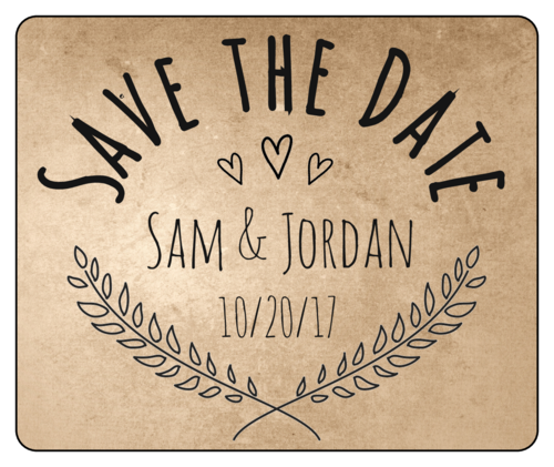 "Organic Kraft ""Save the Date"" Wedding Wine Bottle Label"