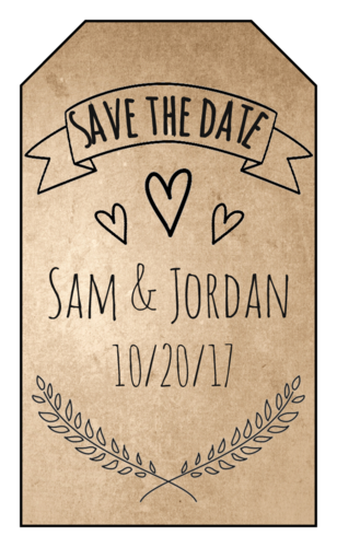 "Organic Kraft ""Save the Date"" Wedding Tag"