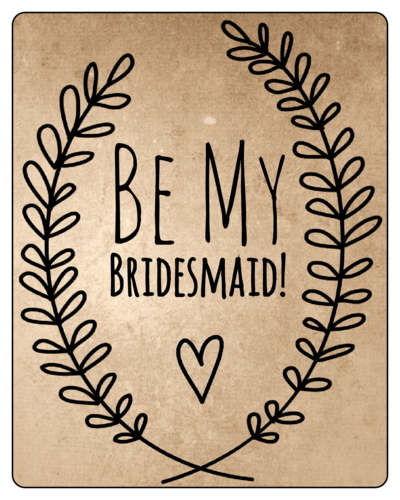 Organic Kraft Bridesmaid Proposal Wine Bottle Label