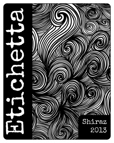 Black & White Swirl Wine Bottle Label