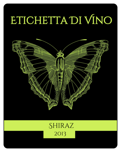 Butterfly Wine Bottle Label