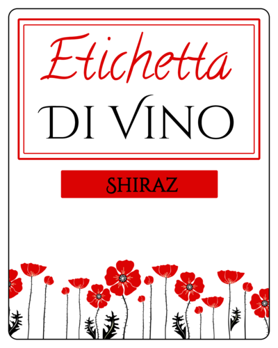 Red Poppies Wine Bottle Label